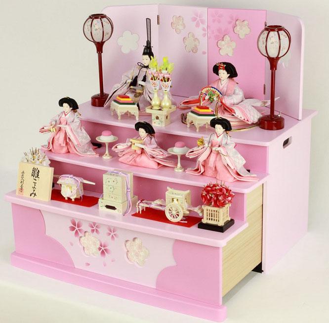 ひな人形 五人収納箱飾り 4H16-GP-020 五人収納箱飾り一式(横)