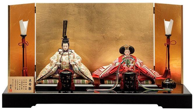 優香作ひな人形「親王飾り」七宝華紋 京十二