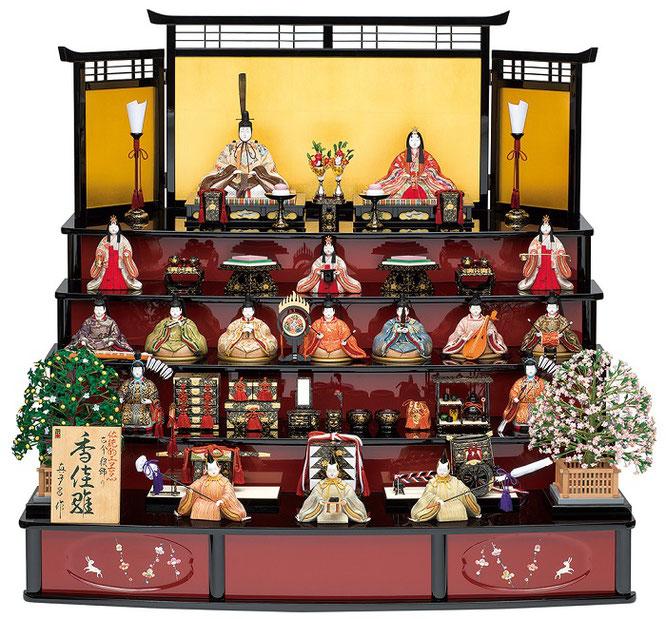 真多呂人形「香佳雛17人飾り」品番:1303