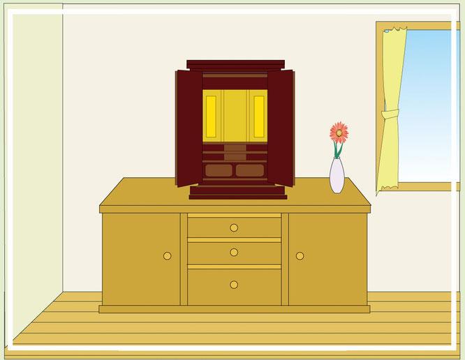上置用仏壇のリビング設置