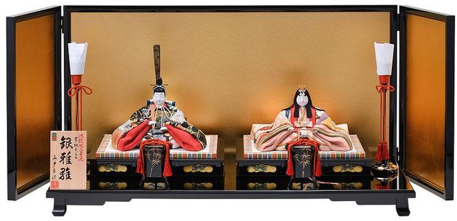 真多呂人形 親王飾り「帯地本金 銀雅雛セット」品番:1804