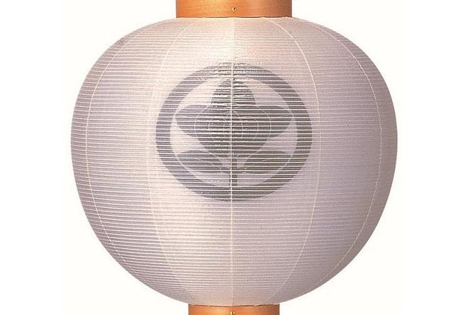 神道用 門提灯(絹二重)白木柾 家紋入りイメージ