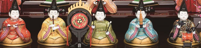瑞花雛10人飾りの五楽人と火焔太鼓