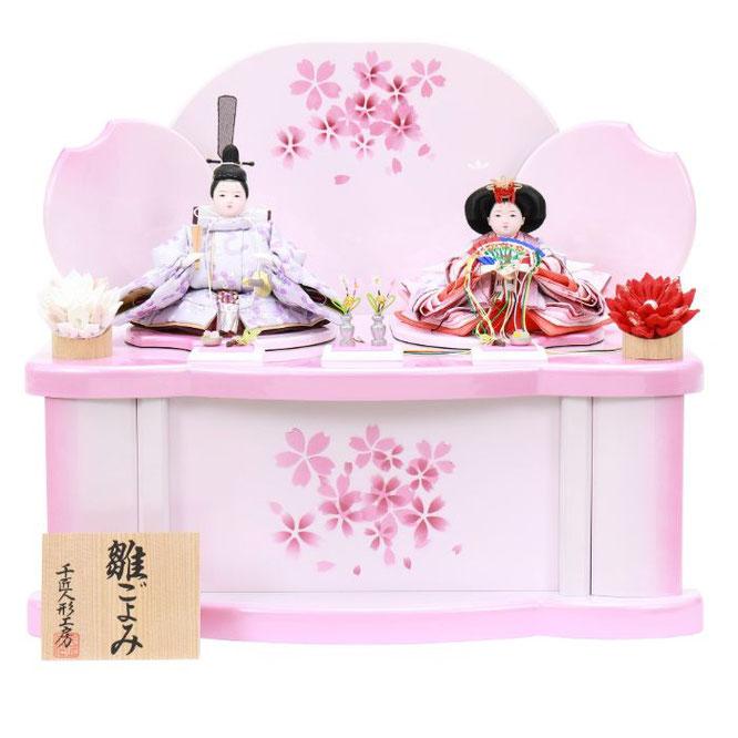 ひな人形 親王収納箱飾り 4H12-GP-078 親王収納箱飾り一式(正面)