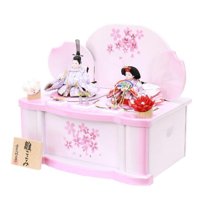 ひな人形 親王収納箱飾り 4H12-GP-078 親王収納箱飾り一式(横)