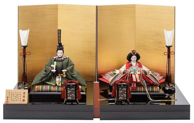 優香作ひな人形「親王飾り」麹塵【束帯雛】