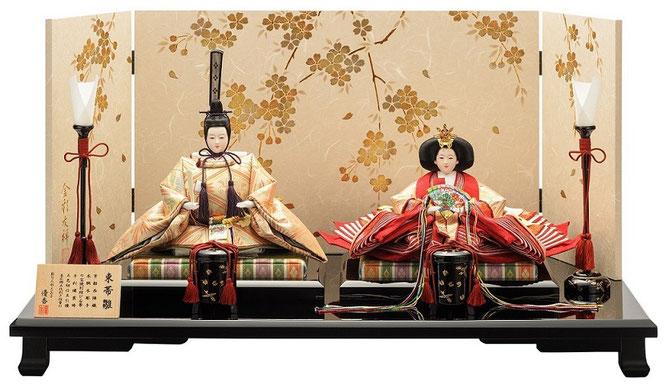 優香作ひな人形「親王飾り」桐鳳襷紋 京十一