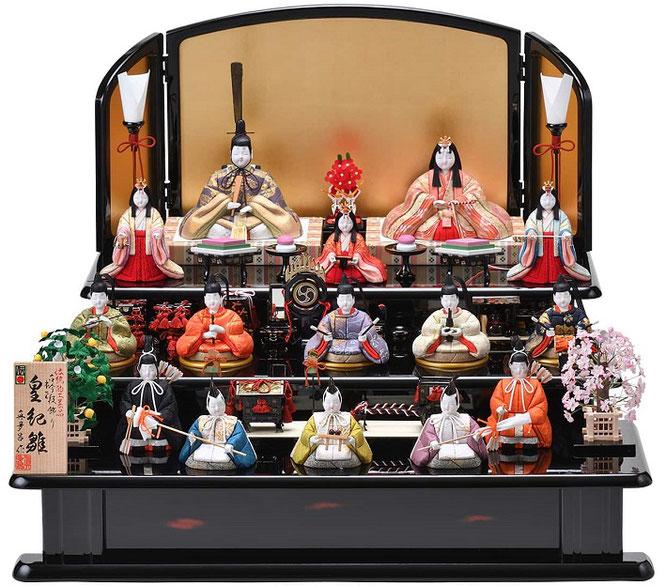 真多呂人形「本金 皇紀雛15人飾り」品番:1322