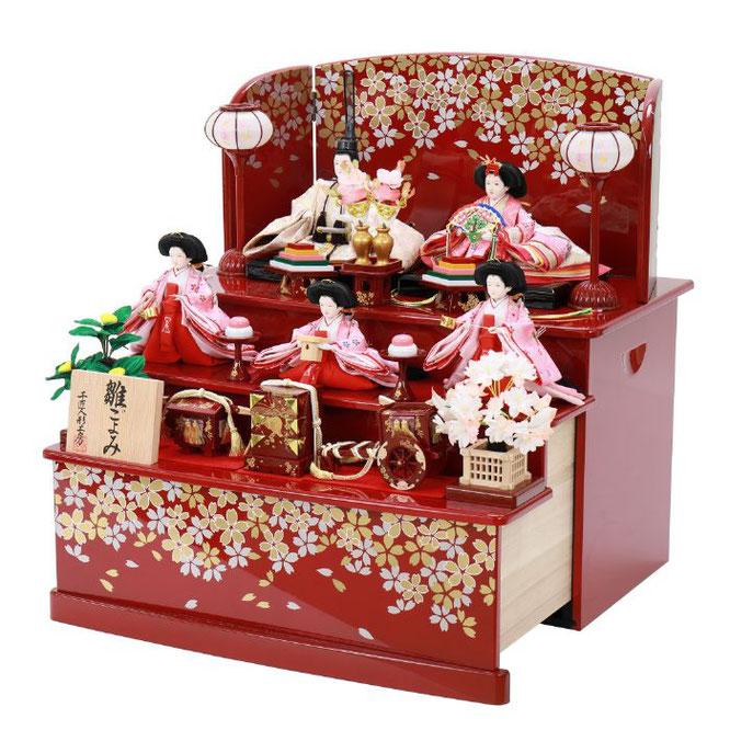ひな人形 五人収納箱飾り 4H16-GP-023 五人収納箱飾り一式(横)