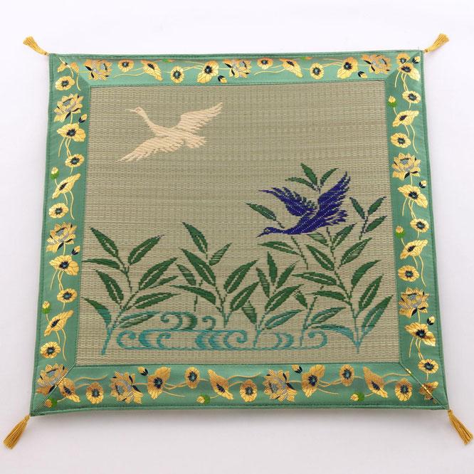 い草座布団「芦に雁 グリーン」品番:605