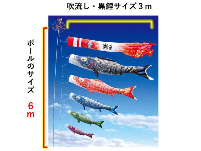 大型鯉のぼり用ポールのサイズ