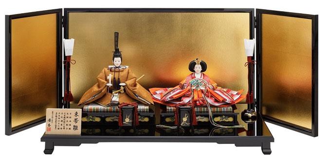 ひな人形 親王揃いと猫足黒塗台、金沢箔の外屏風、燭台・貝桶