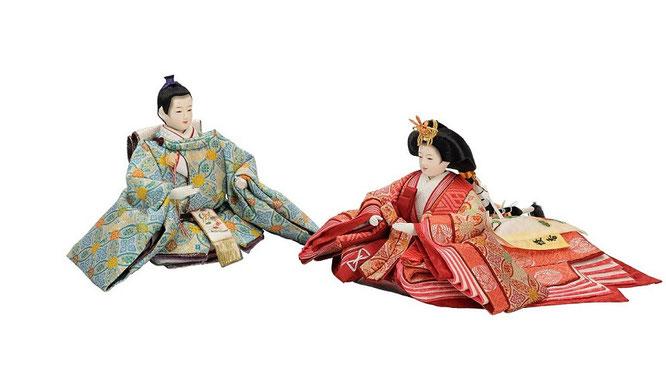 優香作ひな人形 親王揃い 七宝花菱(京十二)