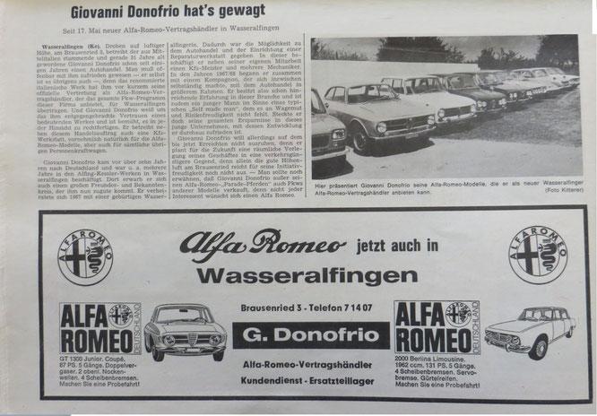 Zeitungsartikel von 1972