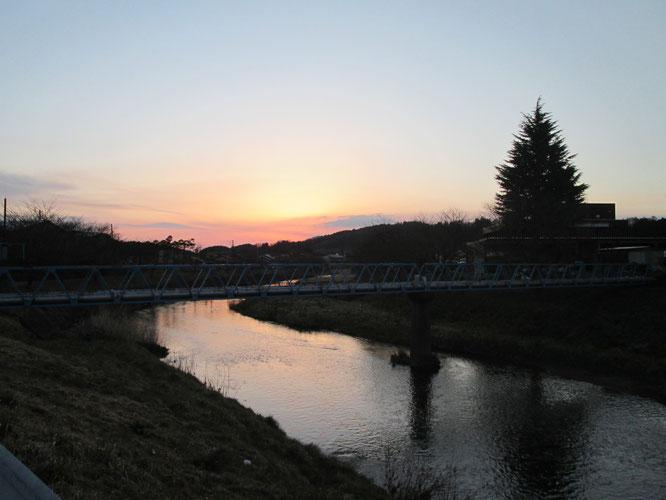 田村市船引地区、大滝根川の風景