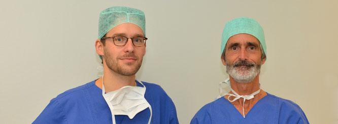 Bild Dr. Bickmann und Prof. Schworm (Operateure)