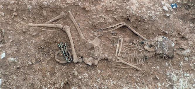 Une des femmes inhumée dans le cimetière anglo-saxon. Crédit : University of Sheffield