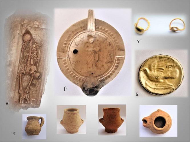 Les restes d'une partie du cimetière mis au jour contenaient une sépulture, un vase en céramique gravé d'une femme, les restes d'anneaux en or, une pièce en or avec un oiseau gravé et plusieurs pièces de poterie. Crédit: Ministère grec de la Culture