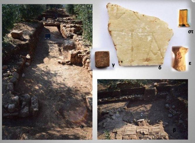 Des restes d'autres zones résidentielles, ainsi que plusieurs artefacts trouvés à l'intérieur ou à proximité des structures, notamment des pièces de jeu et les restes d'une gravure. Crédit: Ministère grec de la Culture