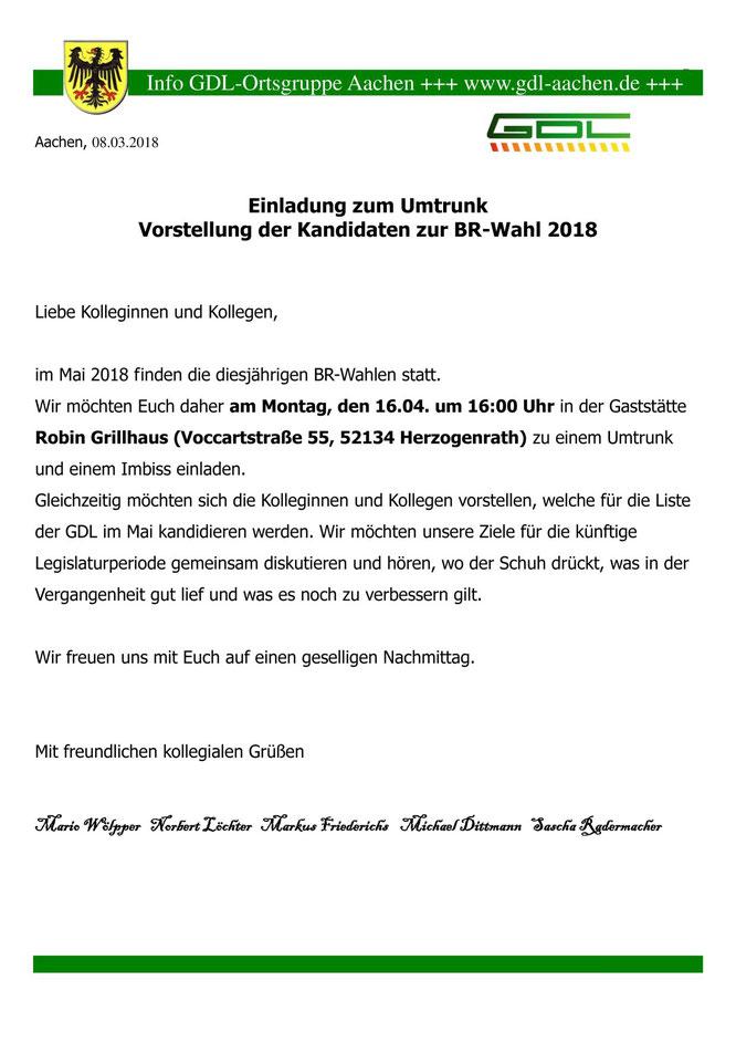 Aushang zum Vorstellungstermin der Betriebsratskandidaten 2018 in Herzogenrath
