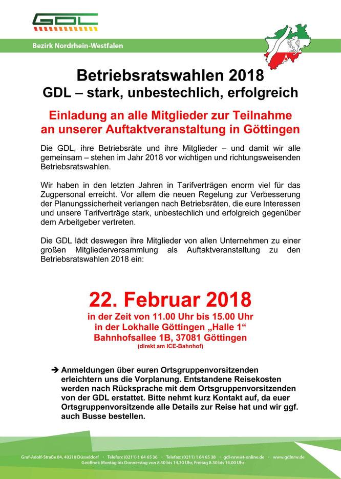 Aushang zur GDL-Auftaktveranstaltung im Februar 2018 in Göttingen