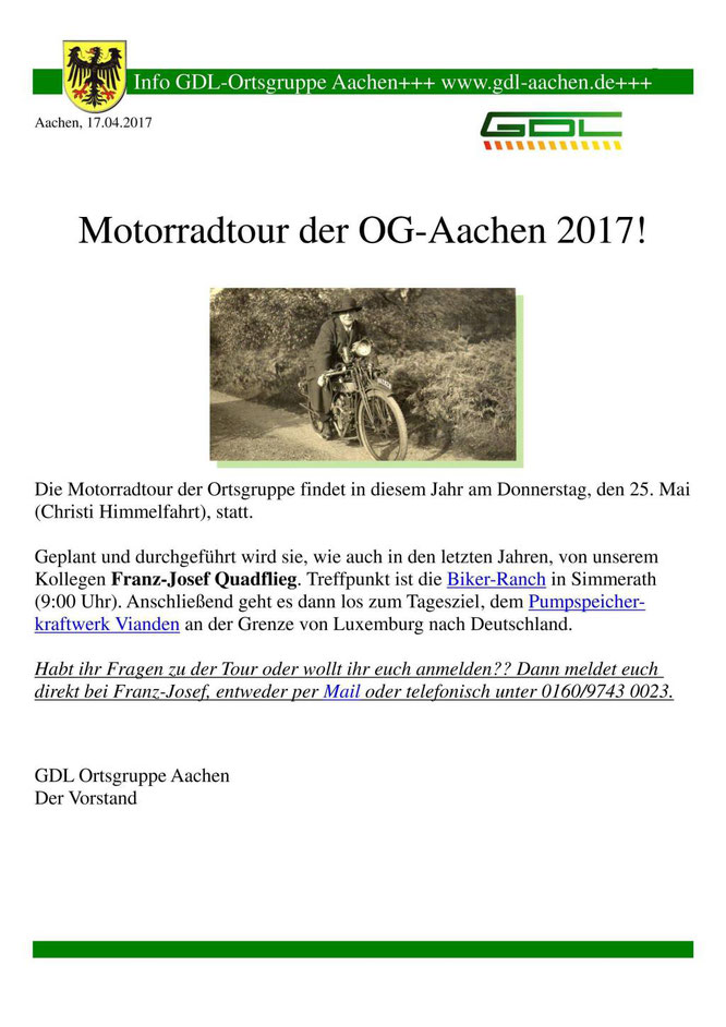 Aushang für die Motorradtour 2017