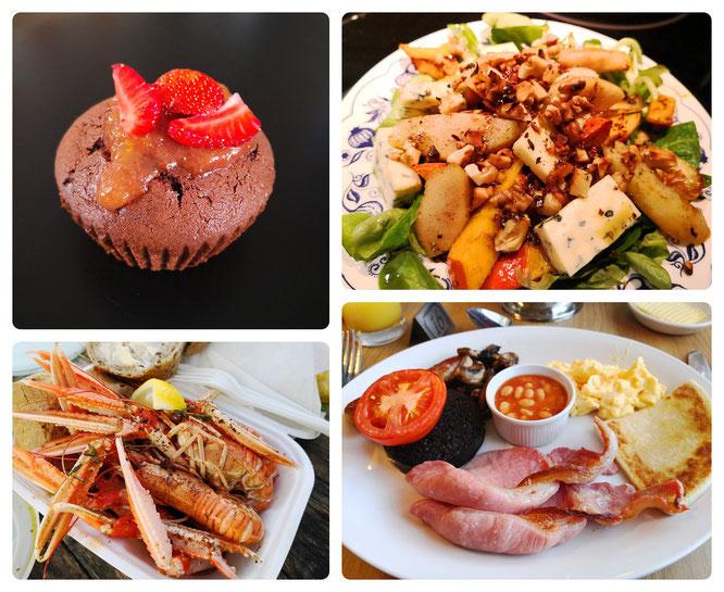 Schokotörtchen - Feldsalat mit Grogonzola - Schottische Meeresfrüchte - Full Scottish Breakfast