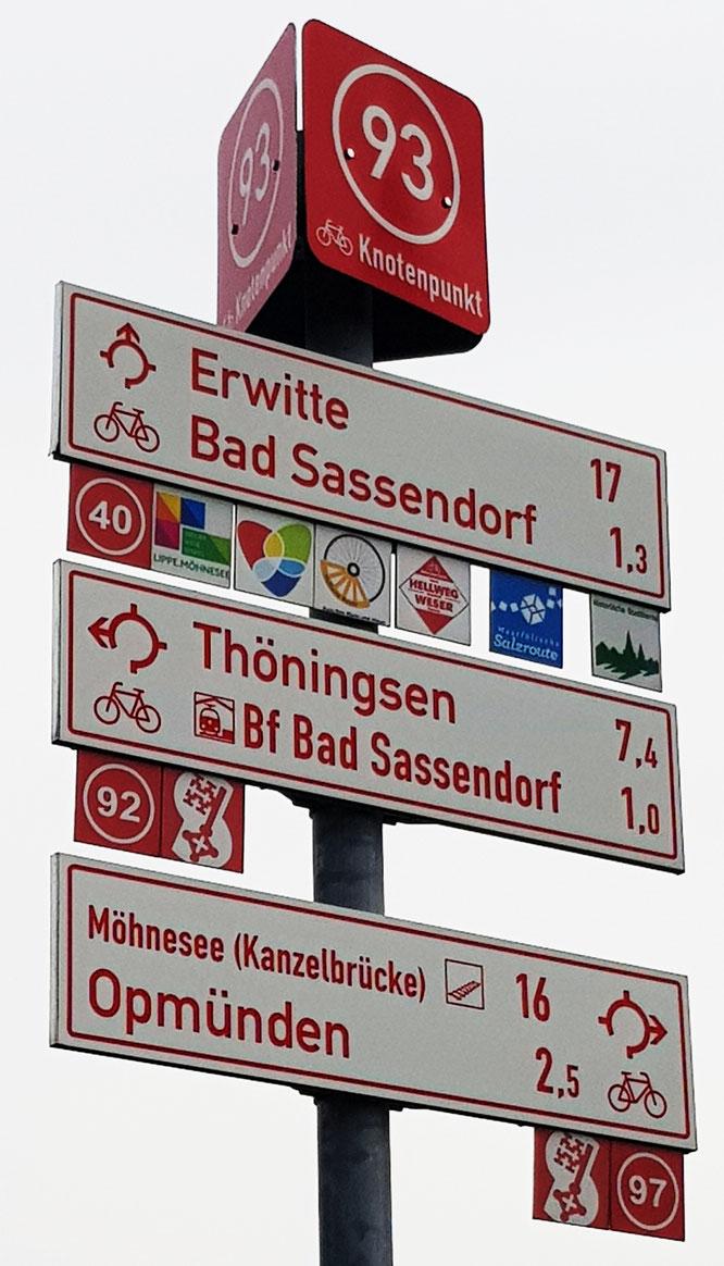 Radwegeschild im Kreis Soest.