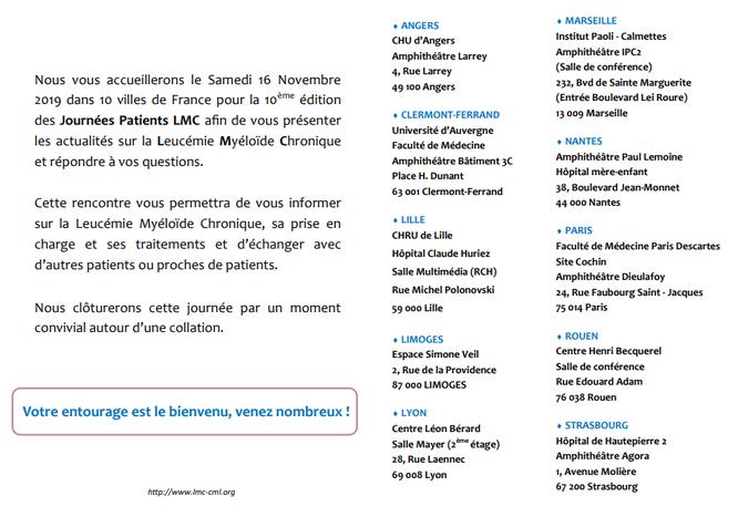 Fi lmc 2019-10e édition-journée nationale-LMC-association-informations-patients-échanges-entourage-LMC France-villes Fi LMC