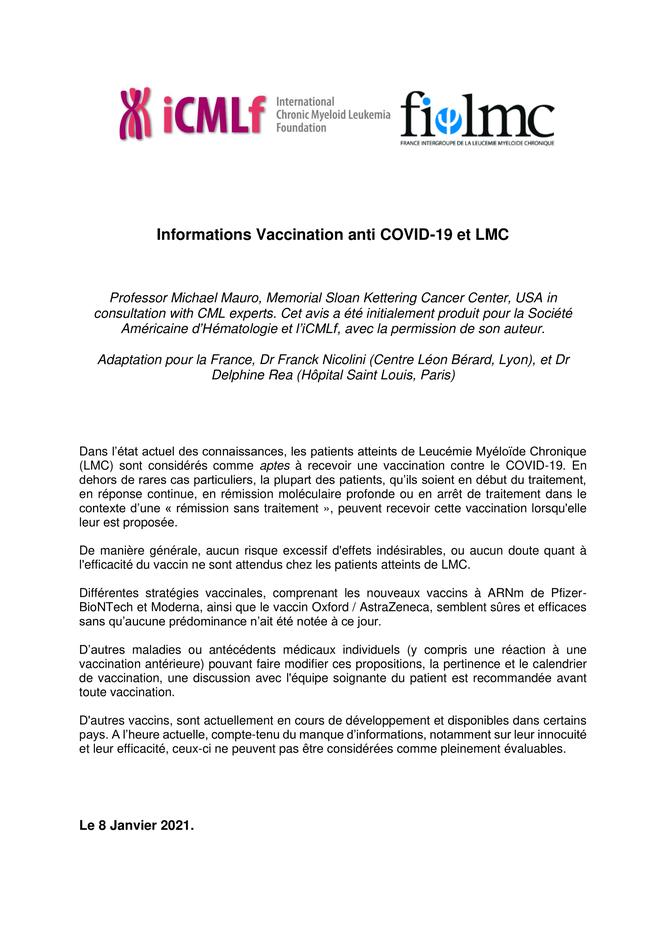 Vaccination Covid-19 - Patients atteints de LMC - Leucémie Myéloïde Chronique - Lettre d'information - Réponses