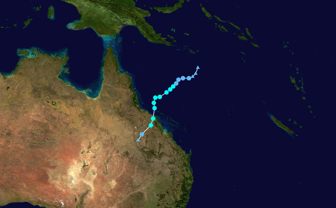 Tropical Cyclon Dylan track map. from http://commons.wikimedia.org/wiki/File%3ADylan_2014_track.png