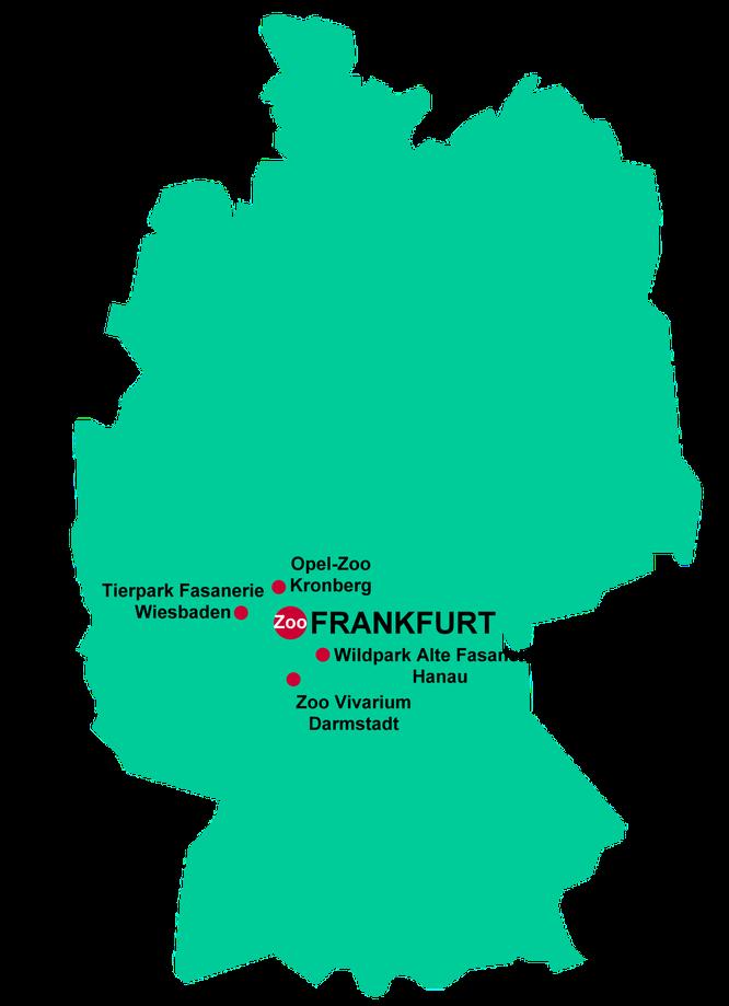 Tierparks in und um Frankfurt   Grafik: © RedaktionsNetzwerk Frankfurt