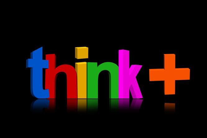 bunte Schrift: think +