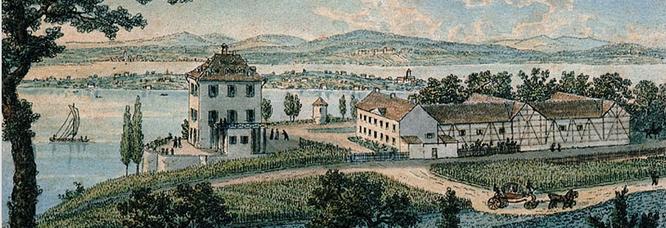 das Schlossgut Arenenberg 1825; kolorierte Umrissradierung von Niklaus Hug