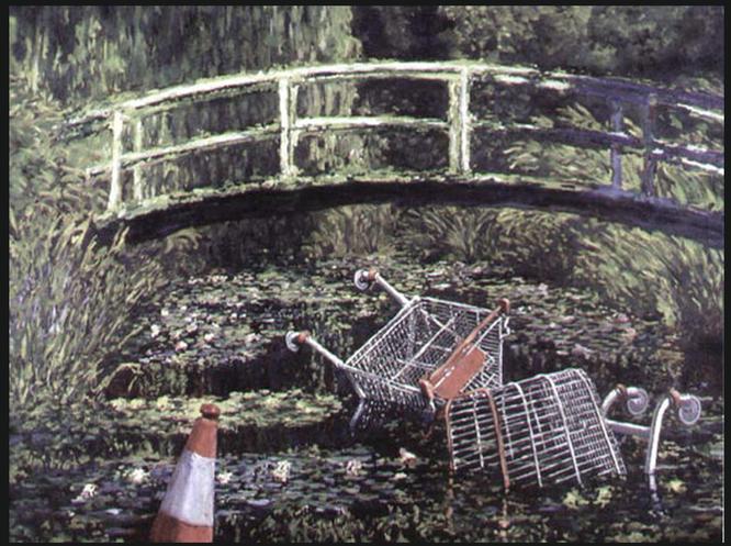 ※4:バンクシーの転覆絵画《Show Me The Monet》2005年