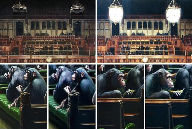 左:2019年『分離議会』、右:2009年の『質問時間』。ランプやバナナに変更が加えられている。