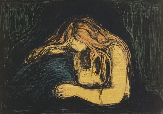 エドヴァルド・ムンク「吸血鬼Ⅱ」(1895年)