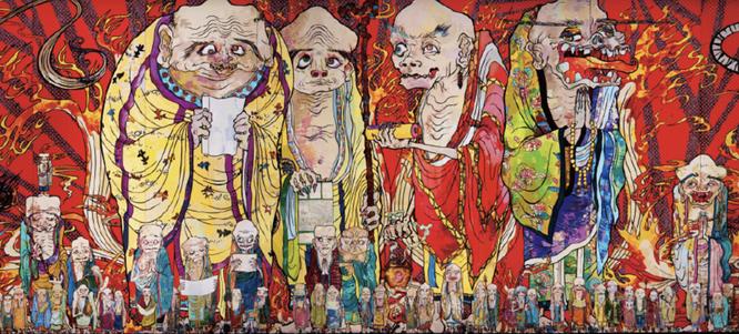 村上隆《五百羅漢図 白虎》部分,2012年