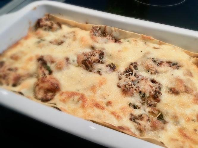 Huhn-Oliven-Lasagne