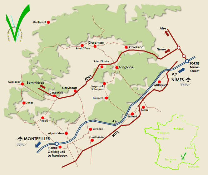 La Vaunage : plan d'accès