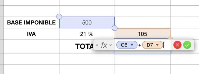 Formula en Numbers para MAC para sumar el Iva más la base imponible