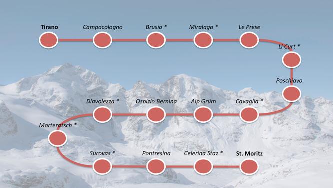 Il percorso del Trenino Rosso del Bernina