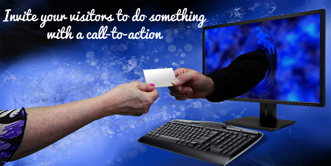 woman giving a card to a man in the computer call to action