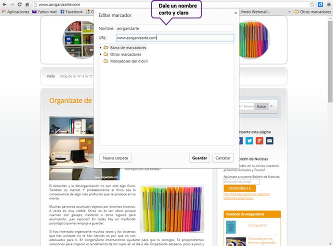 Edita los marcadores para organizarlos mejor - www.AorganiZarte.com