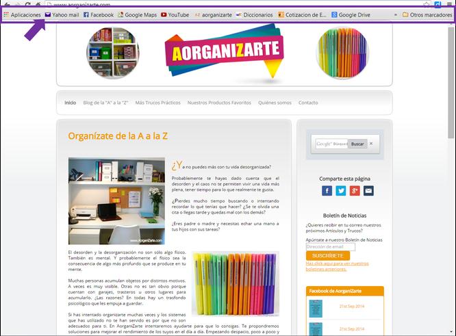 Marcadores de las web en la barra bajo el menú de navegación - www.AorganiZarte.com