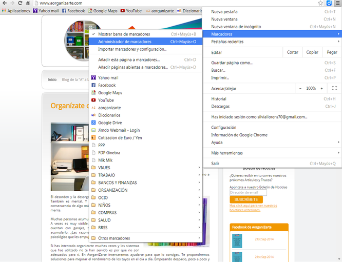 Organiza los marcadores de las web por carpetas - www.AorganiZarte.com
