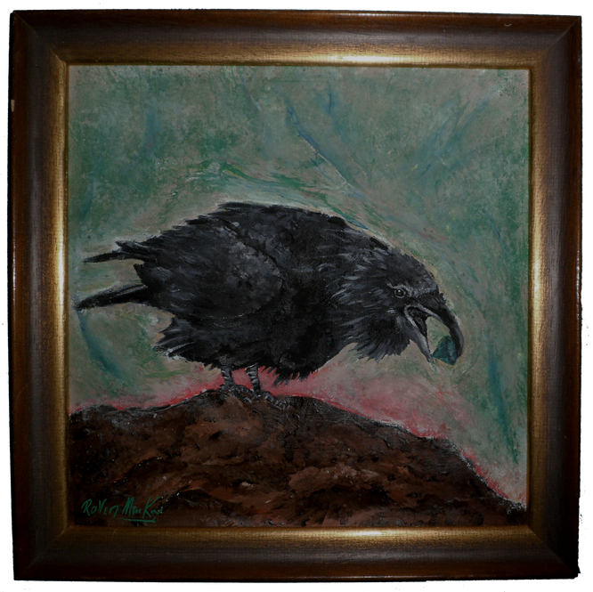 acrylic painting raven canvas