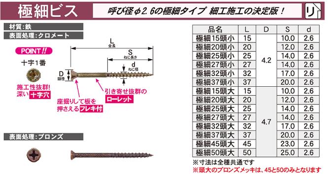 ダンドリビス 極細ビス 呼び径直径2.6の極細タイプ。細工施工に。材質:鉄 表面処理:クロメート、ブロンズ