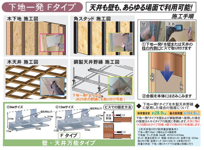 下地一発Fタイプ 天井も壁も、あらゆる場面で利用可能。