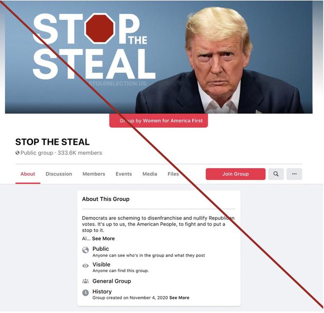 閉鎖されたFacebookの「ストップ・ザ・スティール」のページ